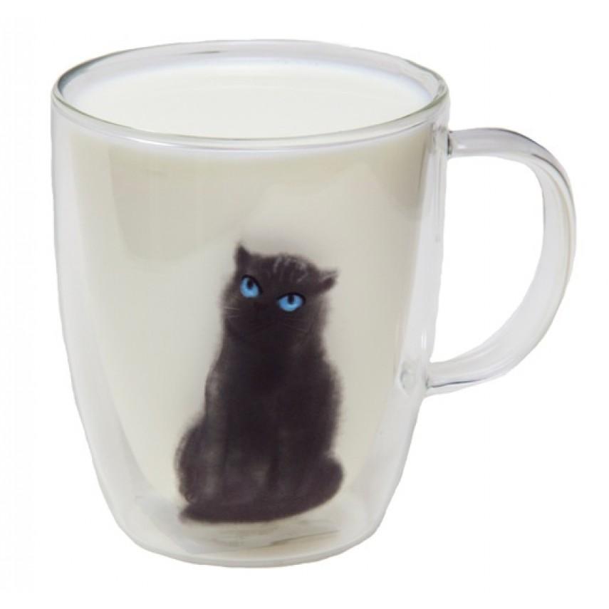 """Чашка двойное стекло """"Кот"""""""